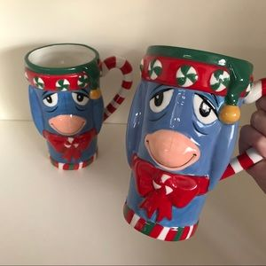 Disney eeyore Christmas tall mugs set of 2